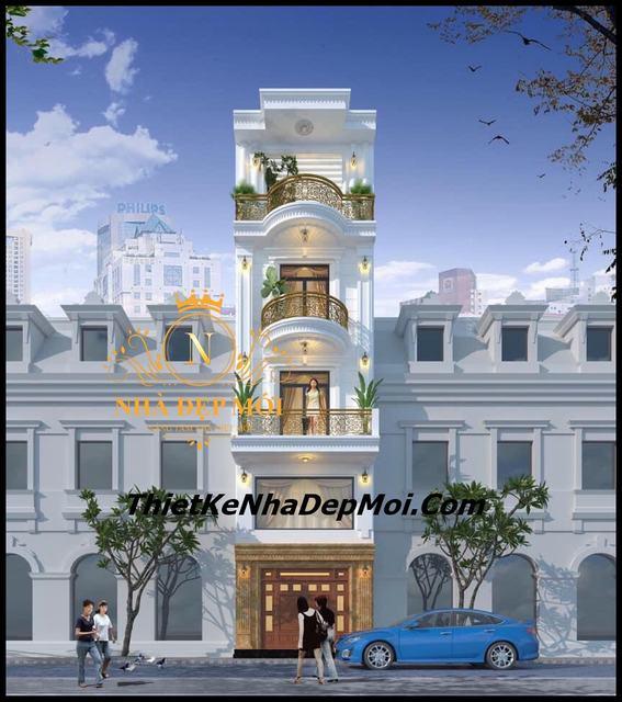 Nhà mặt tiền 4.5m 1 trệt 1 lửng 2 lầu 1 sân thượng