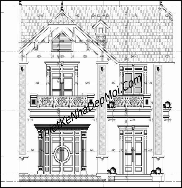 Thiết kế nhà 2 mặt tiền mái thái