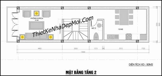Bản vẽ thiết kế nhà có gara ô tô diện tích nhỏ 3,6x13m tầng trệt và lầu 1 cô giáo Quyên Hà Nội