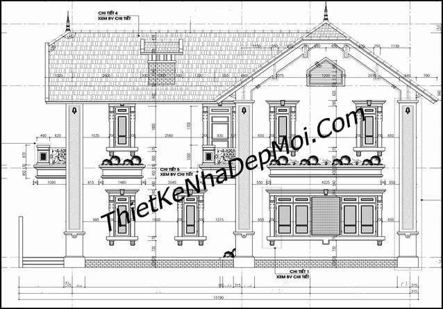 Bản vẽ khai triễn hồ sơ kỹ thuật thi công nhà biệt thự anh Điệp