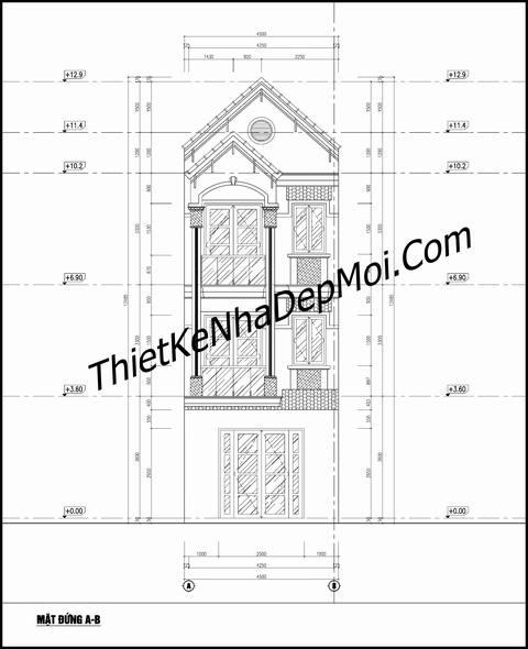 bản vẽ nhà mái thái 3 tầng 4.5m