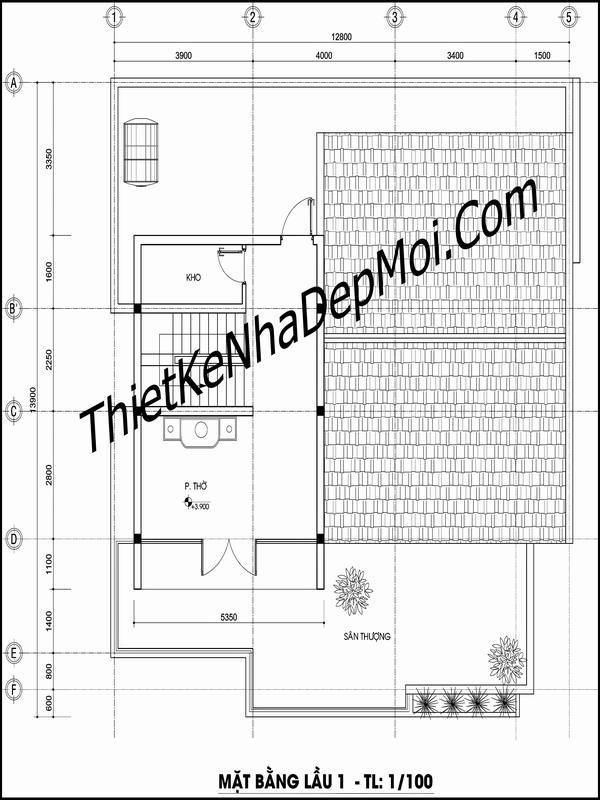 Bản vẽ nhà gác lửng đơn giản