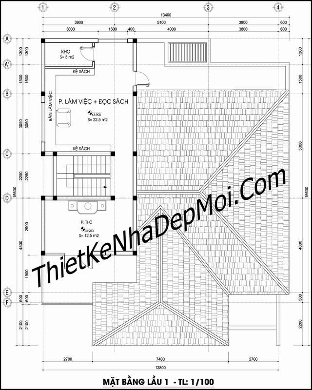 Bản vẽ nhà 1.5 tầng 3 phòng ngủ 1 phòng thờ