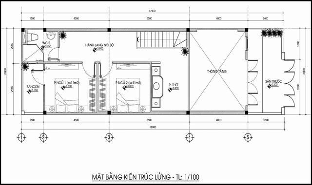 Bản vẽ nhà ống 5x15 có tầng lửng