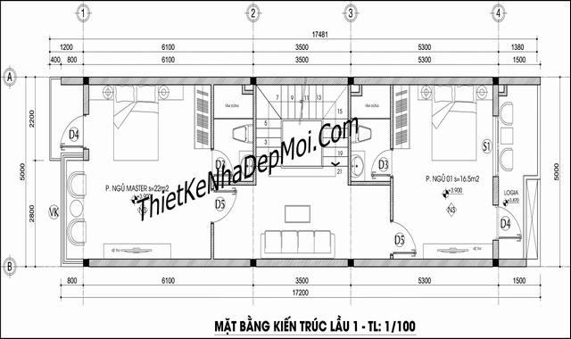 Bản thiết kế nhà phố 2.5 tầng 5x17m