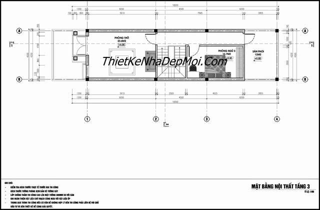 Bản vẽ xây nhà 3 tầng rộng 4.5m