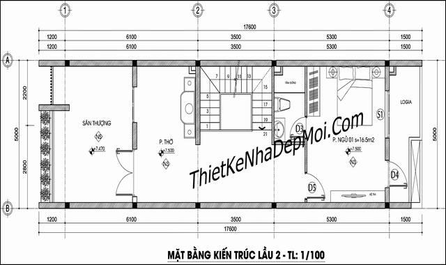 Mặt bằng nhà rộng 5m mặt tiền phố 85m2