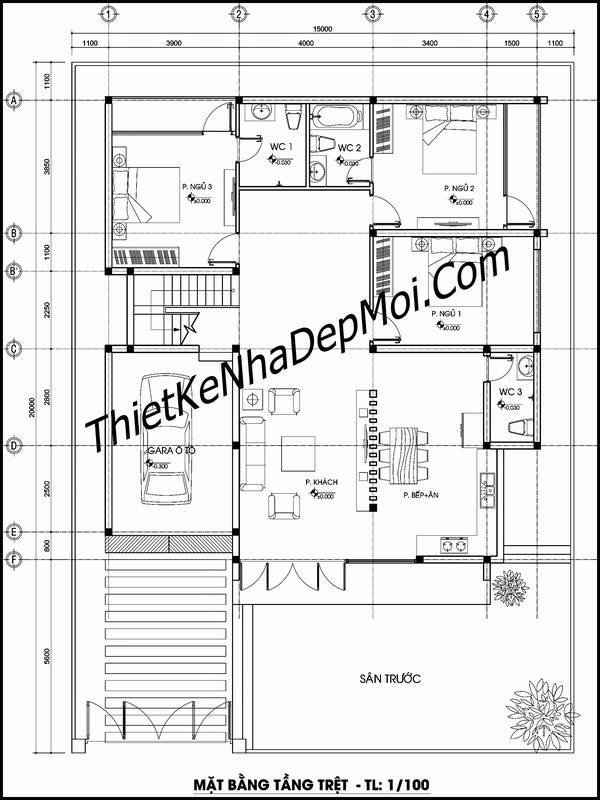 Bản vẽ thiết kế nhà 1 tầng có gác lửng làm phòng thờ