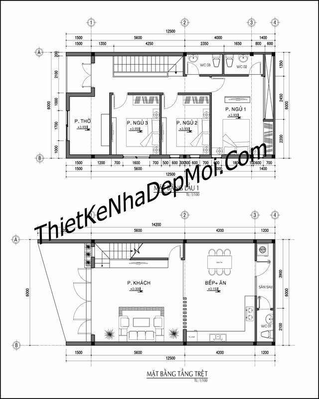 Phương án mặt bằng không gian nội thất nhà đẹp 2 tầng hiện đại 6x13m