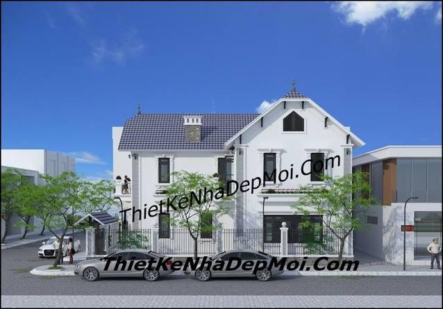 thiết kế nhà 2 tầng 2 mặt tiền mái thái