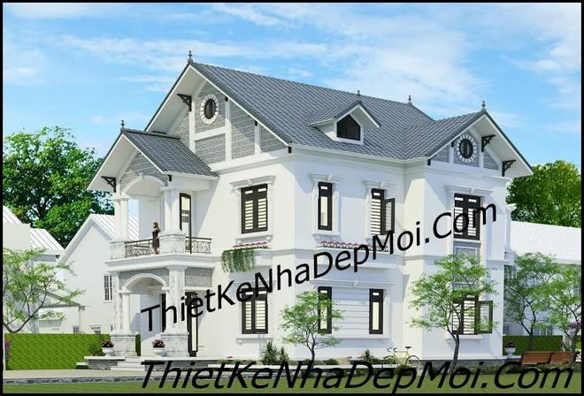 Phối cảnh kiến trúc mẫu nhà 2 tầng mái thái 10x15 góc nhìn 2 của anh Khoa
