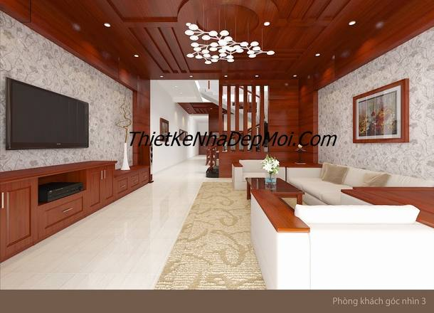 Mẫu nội thất phòng khách nhà phố đẹp anh Biên Long Bình Biên Hòa