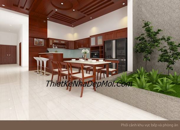 Thiết kế nội thất phòng bếp đẹp cho nhà phố 5m