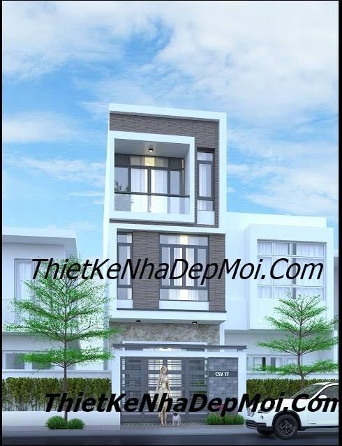 Mặt tiền nhà phố 5m 3 tầng lệch đơn giản hiện đại