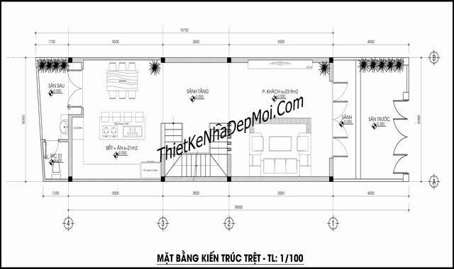 Thiết kế nhà 5x18 3 tầng lệch