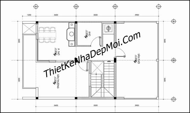 Mặt bằng nhà 7x12 2 tầng 1 tum mặt tiền phố 7m