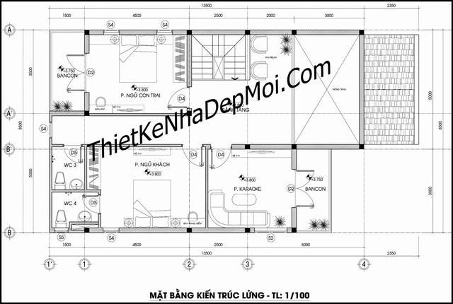 Bản vẽ nhà mái thái chữ l 1 tầng có gác lửng 3 phòng ngủ