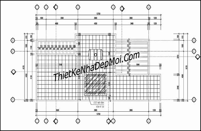 Bản vẽ mái nhà ống 3 tầng 5.6x15