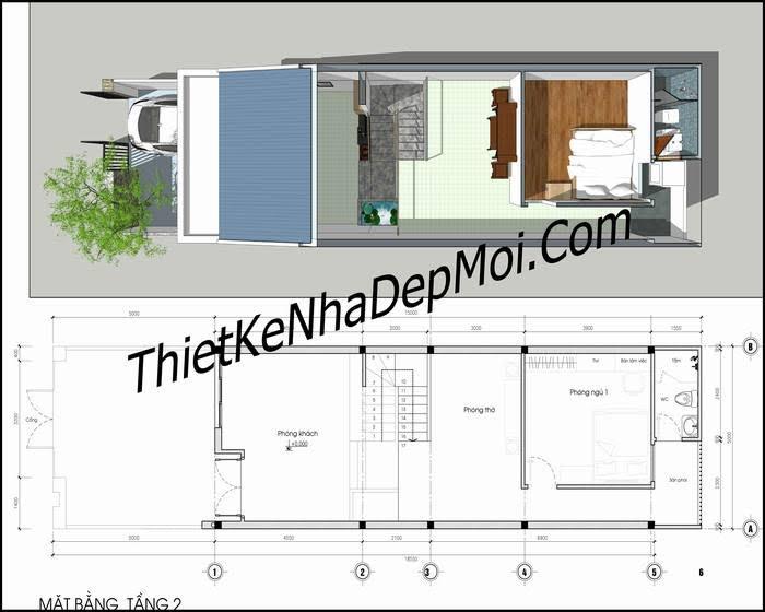 Bản vẽ nhà 5x15 có gác lửng 2 phòng ngủ