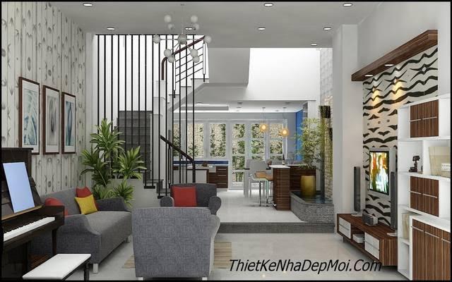 Thiết kế nội thất nhà 4m có giếng trời
