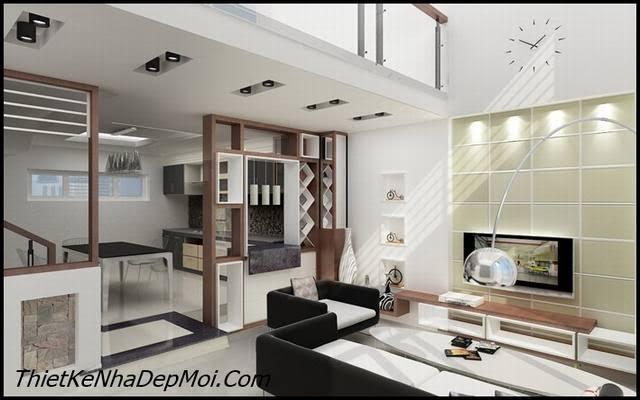 cách trang trí nội thất phòng khách liên thông với bếp ăn căn hộ quận 7
