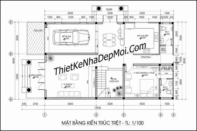 Thiết kế nhà ngang 10m 2 tầng