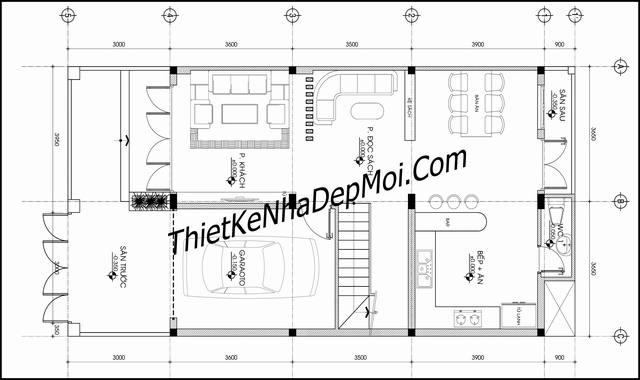 Bản thiết kế nhà ống 2 tầng mặt tiền 7m đơn giản