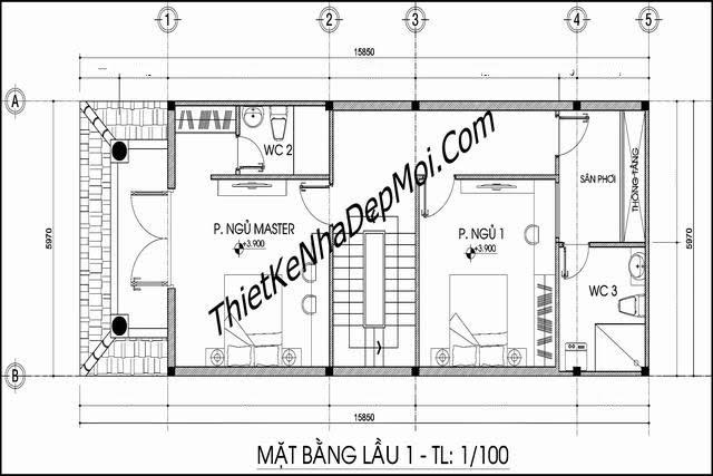 Bản vẽ thiết kế nhà 6x14 trên đất rộng 6x20