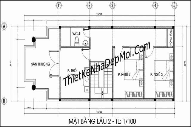 bản vẽ nhà mái nhật tầng 3