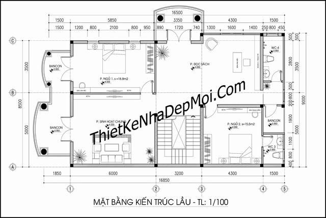 Bản vẽ nhà 2 tầng mái thái rộng 10m