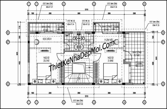Thiết kế nhà 2 mặt tiền 5.7x15m