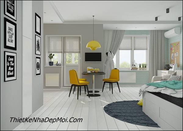 Mẫu nội thất căn hộ đơn giản mà thoáng mát hiện đại