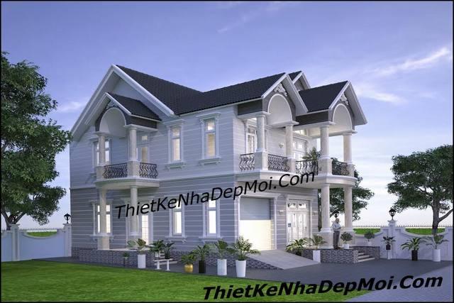 Mẫu nhà biệt thự 2 tầng mặt tiền 10m view 2