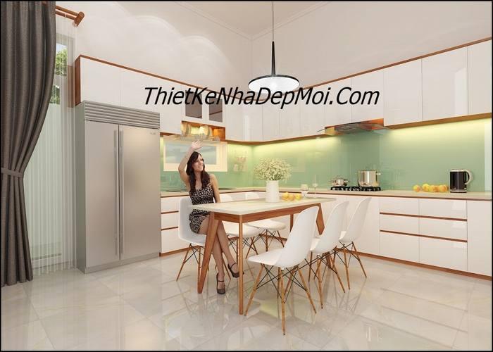 Không gian bếp ăn nhà mái thái đẹp có gác lửng anh Thanh