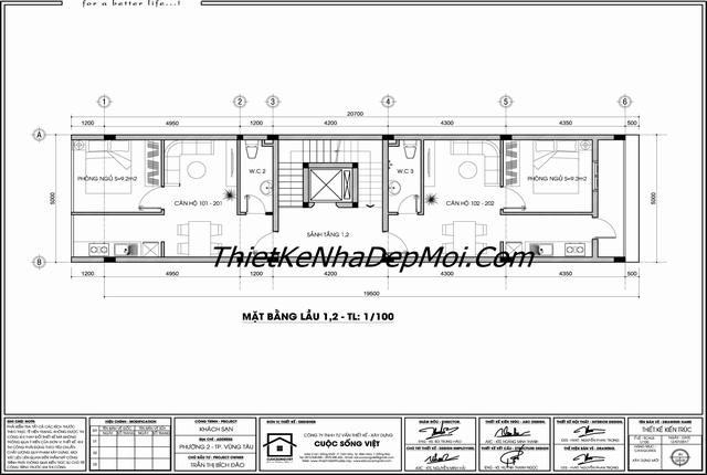 Bản vẽ thiết kế khách sạn hiện đại tầng trệt + lầu 1 + lầu 2