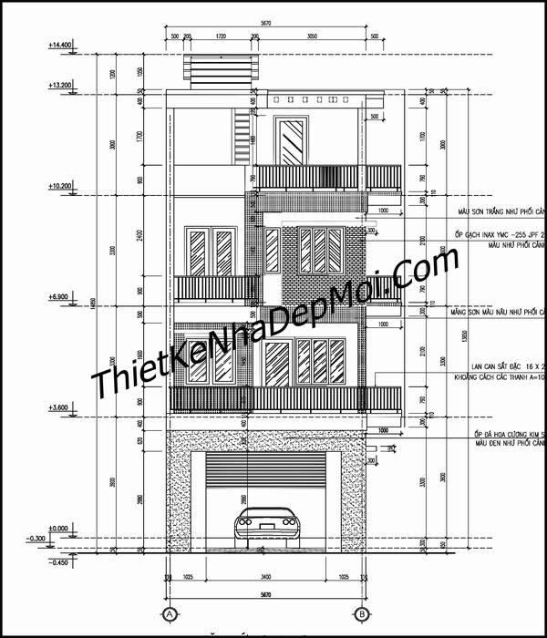 Bản vẽ trục đứng nhà ống 4 tầng hiện đại ngang 5.6m mặt tiền