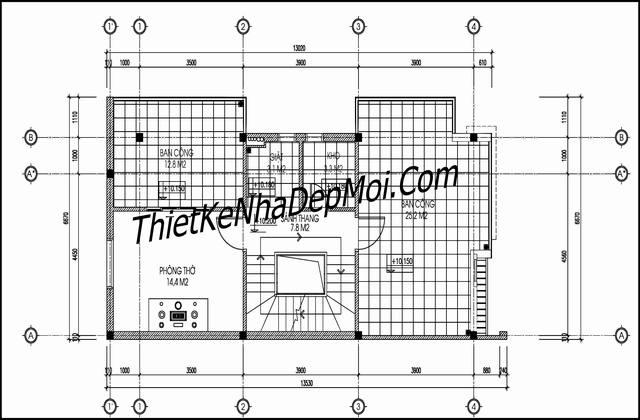 Mặt bằng nhà hai mặt tiền 3 tầng 1 tum