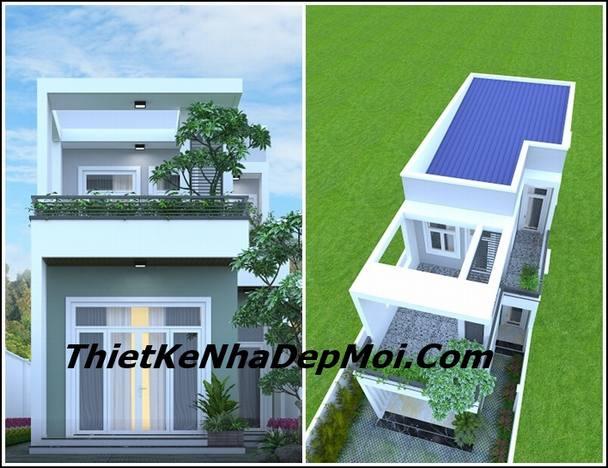 xây nhà phố 2 tầng phong cách hiện đại 90m2