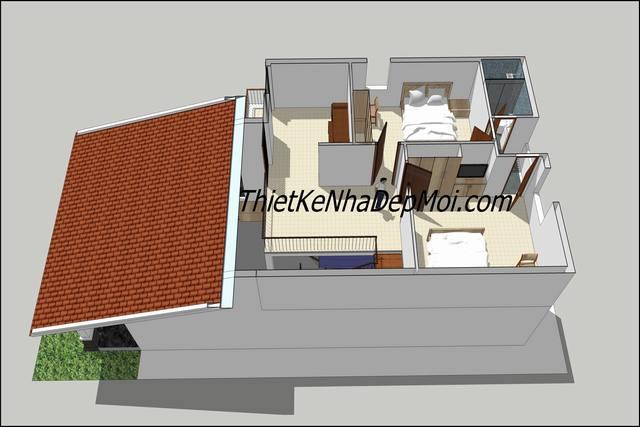 Không gian nội thất nhà cấp 4 có gác lửng làm phòng ngủ