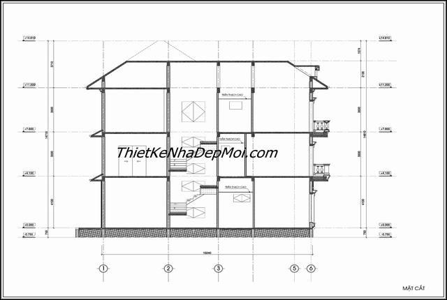 Mặt cắt biệt thự 3 tầng 16x12m
