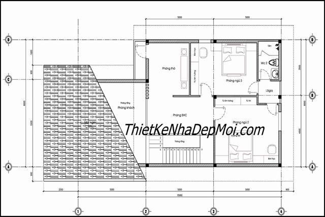 Bản vẽ nhà 1 tầng có gác lửng 8x16m