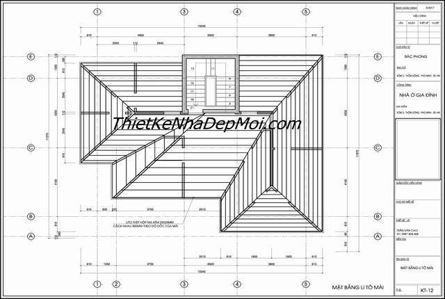 Bản vẽ thiết kế nhà 2 tầng hoàn chỉnh cho kỹ thuật thi công