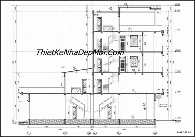 Bản vẽ sửa chữa nhà ống mặt tiền 4 tầng