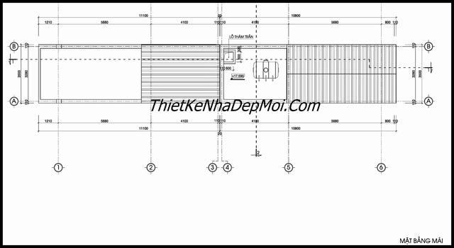 Bản vẽ nhà ống có sân thượng 3.5x20 4 tầng