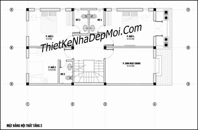 Bản vẽ xây nhà 3 tầng mái thái ngang 7m