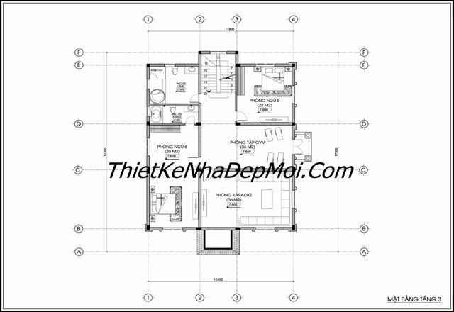 Bản thiết kế biệt thự cổ điển 4 tầng Hà NỘI