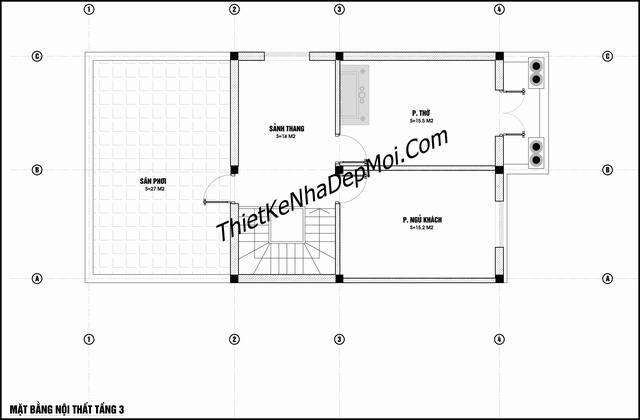 Bản thiết kế nhà 7x14 3 tầng 5 phòng ngủ 1 phòng thờ