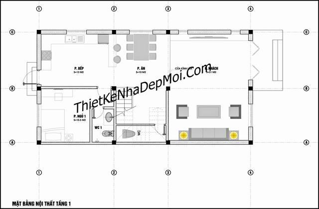 Bản vẽ nhà mái thái 7m 3 tầng