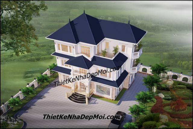 Mẫu nhà 3 tầng mái thái ở nông thôn