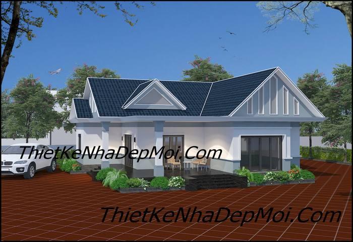Mẫu nhà cấp 4 mái thái 3 phòng ngủ đẹp ở nông thôn 2021